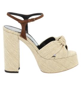 Beige Bianca raffia sandal
