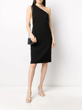 One-Shoulder Compact Frise Dress Black