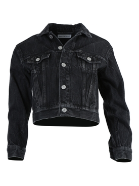 Balenciaga - Black Shrunken Denim Jacket - Women