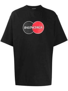 Contrasting Circle Logo Graphic Print T-shirt BLACK