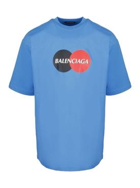 Contrasting Circle Logo Graphic Print T-shirt SCREEN BLUE