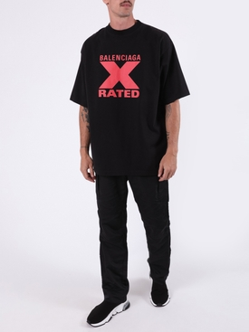 Large Fit X Rated Shirt BLACK AND RED