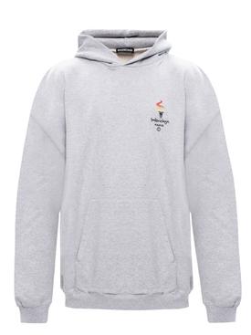 Paris Olympics embroidered logo hoodie GREY