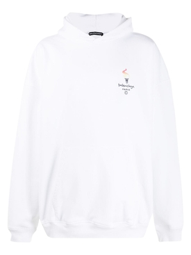 Paris Olympics embroidered logo hoodie WHITE