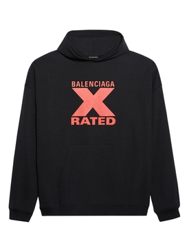 Balenciaga - X Rated Over-sized Logo Hoodie Black/ Red - Men