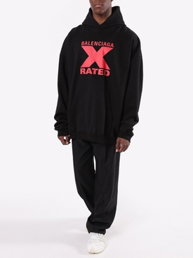 X Rated Over-sized Logo Hoodie BLACK/ RED