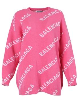 Pink Oversize Logo Crewneck Sweater
