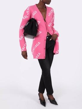 Pink oversized logo cardigan