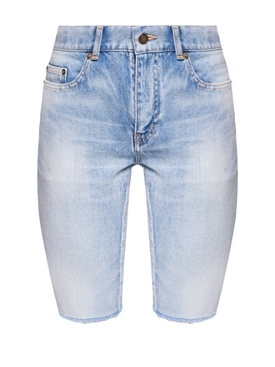 Long Frayed Denim Shorts