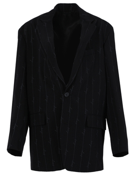 Black tailored blazer logo print jacket