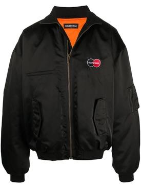 Black Oversized Uniform Bomber Jacket