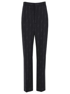 Black pinstripe logo print trousers