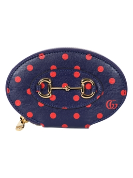 Gucci - Navy And Red Polka Dot Oval Wallet - Women