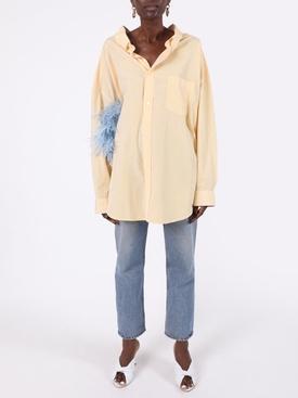 yellow open collar striped shirt
