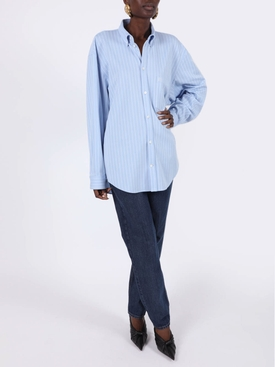 Light blue and white stripe button-down