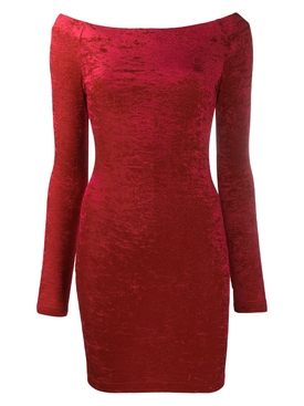 Balenciaga - Red Crushed Velvet Cycling Mini Dress - Women