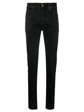Black coated-effect skinny jeans
