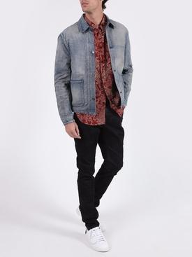 Black coated-effect skinny jeans