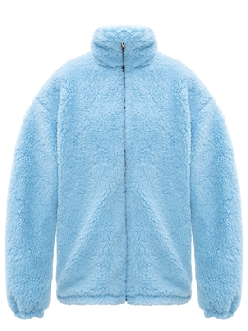 Oversized Light blue fleece zip-up jacket