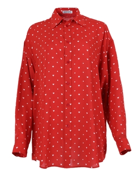 Red and white Heart print blouse