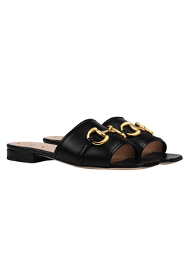 Horsebit Leather Dava Sandals BLACK