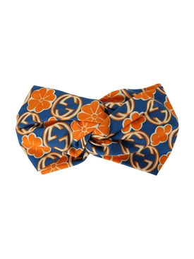Orange and Blue GG Logo Silk Headband