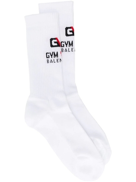 Cotton Logo Gym socks WHITE