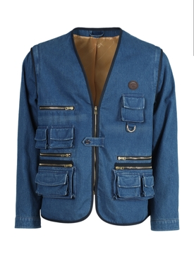 Blue Zipper detail denim jacket