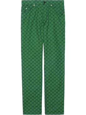 Green GG Supreme Logo Pants