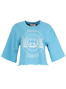 Blue wave cropped sweatshirt