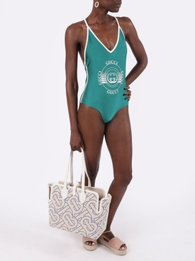 Green and cream white one piece swimsuit