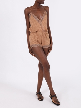 Cream cashew silk slip bodysuit