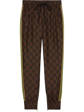 GG supreme brown silk track pants