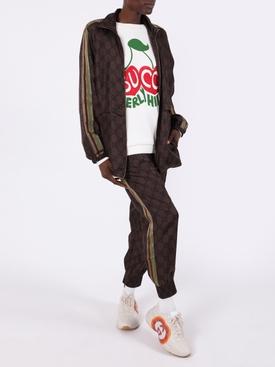 GG supreme brown silk track pants