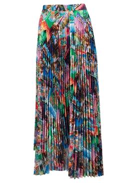 Multicolored Pleated Midi Skirt
