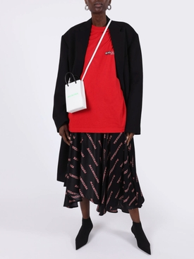 Red and Black Asymmetric Logo Print Silk Midi Skirt