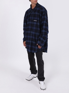 Blue Over-sized check print flannel shirt