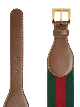 Horsebit leather and canvas belt