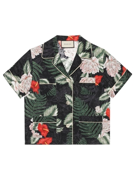 Hawaiian-print silk shirt