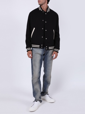 Black & White Teddy Varsity jacket