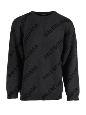 Grey and black logo print sweater