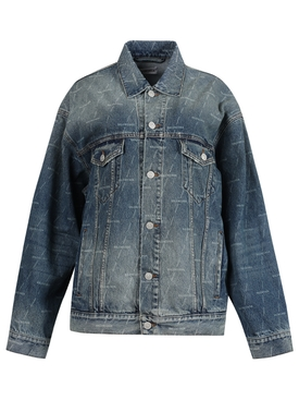 Large Fit Logo Print Denim Jacket, Authentic Dark Blue