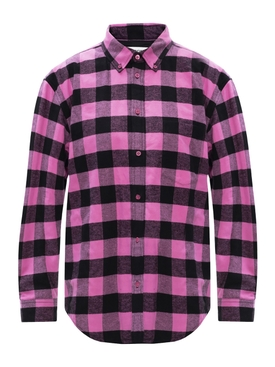 Pink and black plaid print shirt