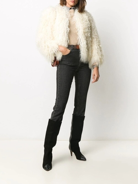 Cream white shearling jacket