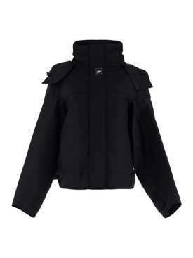 Black oversize upside down parka jacket
