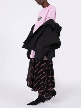 Black oversize upside down parka jacket