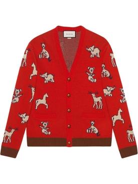 Red Animal Print Cardigan