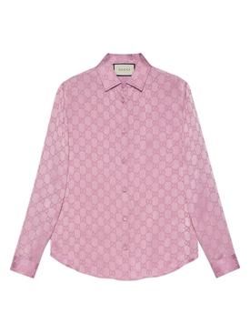 Silk monogram shirt PEONY BLUSH