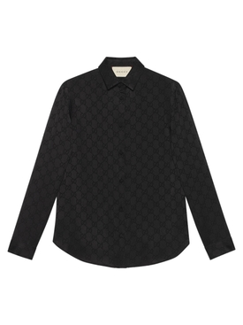 Silk monogram shirt BLACK