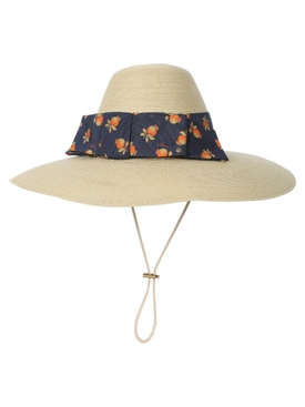 Ivory and blue straw hat